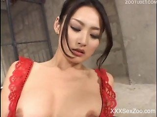 Sensual Japanese woman intense sex with her dog during top video