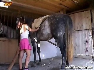 Cock sucking zoophilia babe enjoys horse penis in both holes