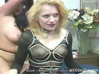 See-through get-up blonde fucks a hung dog