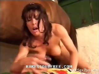 Glamour big-boobed zoofil gets nailed by stallion