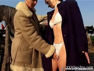 Sexy outdoor zoophilia sex for two mature women