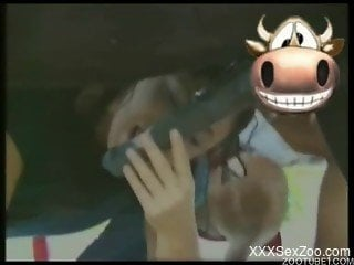 Two beautiful zoophiles brunettes are sucking horse dick