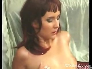 Cheating zoophile wife fucks with her doggy in missionary pose