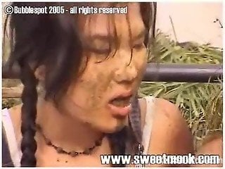 Asian sluts in scat scenes of dirty horse shit eating porn play