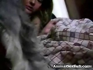 Mature housewife deepthroats a dog's delicious boner