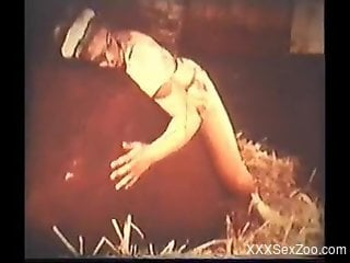 Retro video showing horny zoophiles and hornier animals