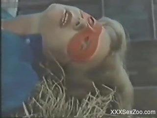 Mature screams with horse cock in her pussy