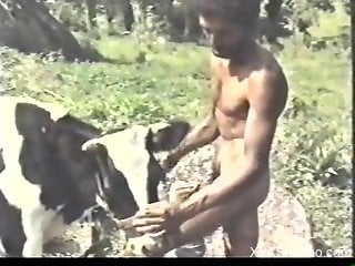 Latino lover destroying a cow's cute pussy outdoors