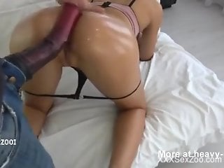 Oily booty camgirl takes a stallion cock from behind