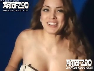 Gorgeous Latina takes a dog's cock on all fours