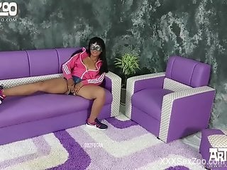 Sporty Latina with a hairy cunt gets drilled by a dog