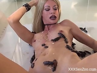 Cockroaches and bugs crawling inside a blonde's pussy