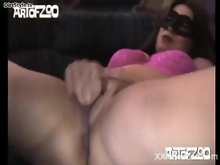 Mask-wearing hottie getting power-fucked by a dog