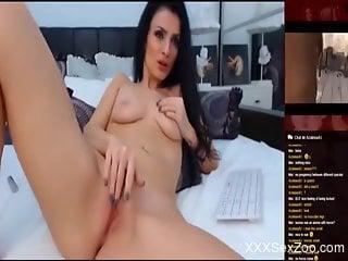 Brunette masturbates vigorously to bestiality porn