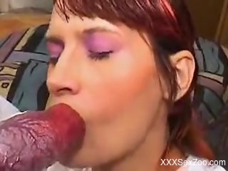 Redheaded beauty worships a dog's gorgeous red cock