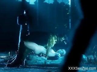 Harley Quinn getting fucked by a dog in a Batman-themed vid