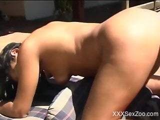 Doggy style drilling session with a brunette Latina