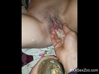 This delicious zoophile pussy is now filled with MAGGOTS